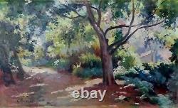 Tableau Ancien Huile Paysage Arbres Jardin Gustave Lemaitre Orientaliste Alger