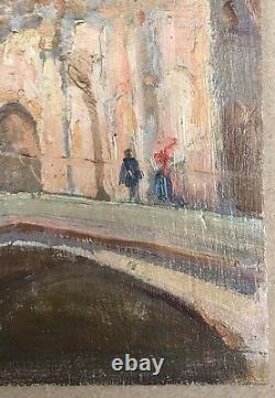 Tableau Ancien Huile Paysage Architecture Église Pont Venise Italie Fin XIXe