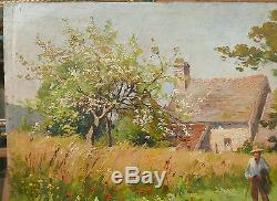 Tableau Ancien Huile Paysage Campagne Paysan Fin XIXe Proche Camille PISSARRO
