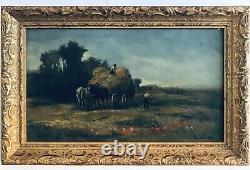 Tableau Ancien Huile Paysage Campagne Paysan Foin XIXe Signé B. COLVIER