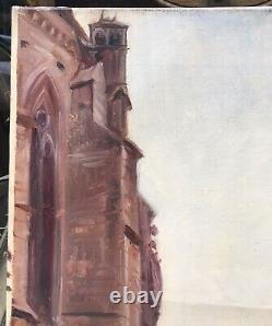 Tableau Ancien Huile Paysage Eglise St-Pierre Tonnerre Émile Bernard (1868-1941)