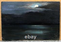 Tableau Ancien Huile Paysage Mer Crépuscule Ciel Nuit Lune Josey PILLON 1902