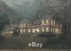 Tableau Ancien Huile Paysage Nocturne Casino ETIENNE DE MARTENNE c. 1895/1900