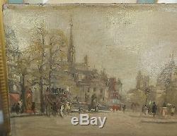 Tableau Ancien Huile Paysage PARIS Place Saint Michel c. 1900 Signé à identifier