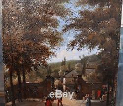 Tableau Ancien Huile Paysage Parc Saint-Cloud Personnage Cheval XIXe vers 1820