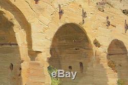 Tableau Ancien Huile Paysage Pont Vieux BÉZIERS c. 1900/1910 Atelier Bailly