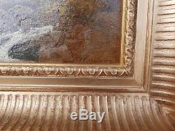 Tableau Ancien Huile Paysage Rivière Rochers EDMOND CUISINIER (1857-1917) Cadre