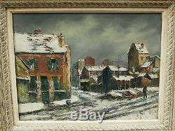 Tableau Ancien Huile Paysage SAINT-OUEN sous la Neige RAYMOND BESSE 1930/1940