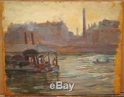 Tableau Ancien Huile Paysage Seine Marne ANTOINE PIERRE CLUZEAU Saint-Maur 1909