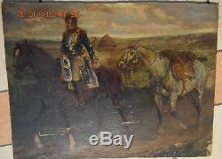 Tableau Ancien Huile Paysage Soldat Napoléonien Retour Campagne Chevaux XIXe