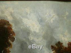 Tableau Ancien Huile Paysage de Campagne XIXe vers 1820 Cartouche John Constable