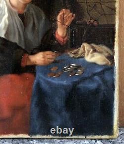 Tableau Ancien Huile Portrait Femme Balance de Changeur Monnaie Pièces XIXe
