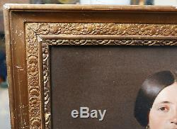 Tableau Ancien Huile Portrait Femme Bijoux CHARLES POUCHON Ami Courbet XIXe 1854