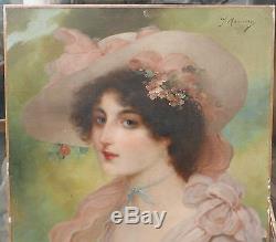 juste prix vaste sélection produits chauds Tableau Ancien Huile Portrait Femme Chapeau Fleurs Signé J ...