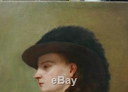 Tableau Ancien Huile Portrait Femme Chapeau XIXe c. 1860 Proche Thomas Couture