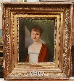 Tableau Ancien Huile Portrait Femme Empire 1800 HENRI NICOLAS VAN GORP Boilly