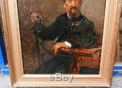 Tableau Ancien Huile Portrait Homme Canne EMILE AUGUSTE CAROLUS DURAN XIXe 1893