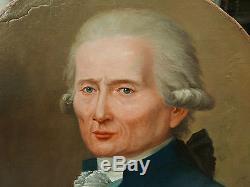 Tableau Ancien Huile Portrait Homme Peintre Collectionneur Miniature Empire 1800