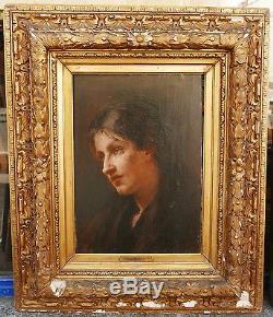 Tableau Ancien Huile Portrait Jeune Femme Mélancolie JULES VALADON XIXe