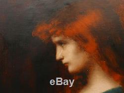 Tableau Ancien Huile Portrait Jeune Femme Rousse Lecture Signé HENNER c. 1900