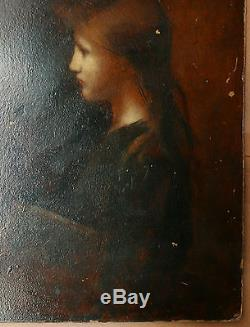 Tableau Ancien Huile Portrait Jeune Femme XIXe attribué à JEAN JACQUES HENNER