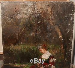 Tableau Ancien Huile Portrait Jeune Femme Élégante Chien Paysage XIX à restaurer