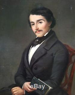 Tableau Ancien Huile Portrait Jeune Homme De Qualité XiX eme