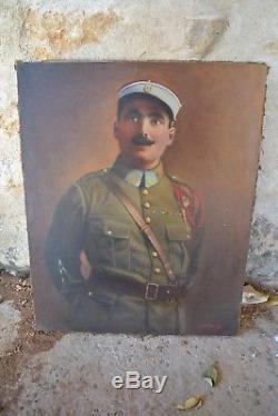 Tableau Ancien Huile Portrait Militaire zouave militaria 14-18