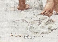 Tableau Ancien Huile Portrait Nu Féminin Sable Plage Antoine Calbet (1860-1942)