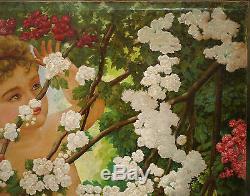 Tableau Ancien Huile Portrait Putti Cerisier Angelot Fleurs GEORGES BERGES 1900