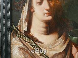 Tableau Ancien Huile Portrait Sibylle EPOQUE RENAISSANCE XVIe Atelier RAPHAEL