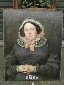 Tableau Ancien Huile Portrait de Femme
