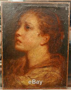 Tableau Ancien Huile Portrait de Jeune Fille Femme XVIIIe Jean Baptiste Greuze