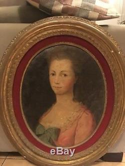 Tableau Ancien Huile Portrait de Noble Dame XVIIIe Siècle Époque Louis XVI