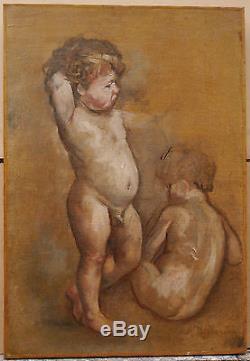 Tableau Ancien Huile Putti Nus MARCELLIN DESBOUTIN XIXe 1880 Ami Manet Degas