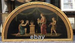 Tableau Ancien Huile Raphael POGGI Scène Neo Pompéienne Type Pompei XIXe Cadre