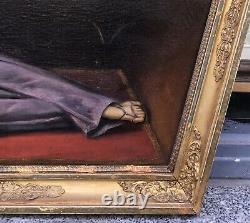 Tableau Ancien Huile Raphael POGGI (c. 1840-1892) Portrait Femme Neo Pompéien