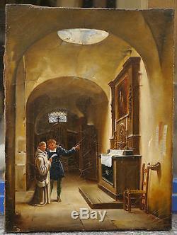 Tableau Ancien Huile Romantique Intérieur Monastère XIXe 1830 Entourage GRANET