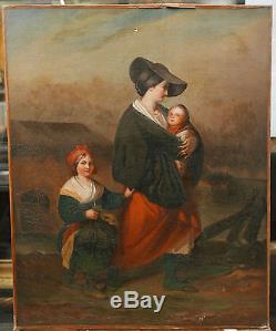 Tableau Ancien Huile Romantique Scène Mère Enfants Portrait Paysage Mer XIX 1850