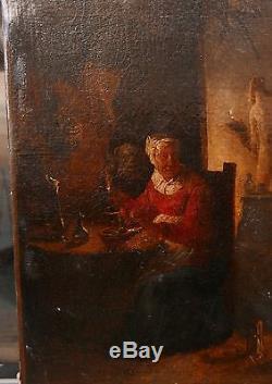 Tableau Ancien Huile Scène Fantastique Sorcière Monstre Animaux Fin XVIIIe