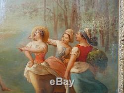 Tableau Ancien Huile Scène de Genre JB Huet XVIIIe Paysage Elegante Cadre Empire