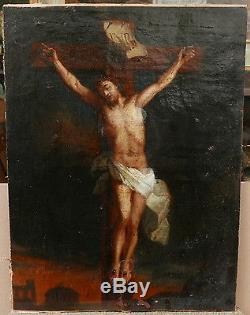 Tableau Ancien Huile Scène religieuse Christ en Croix Religieux XVIIe siècle