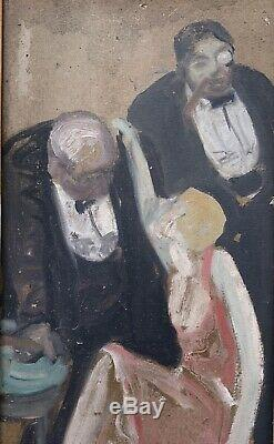 Tableau Ancien Huile Scene Cabaret Fille De Joie André Chapuy (1879-1941)