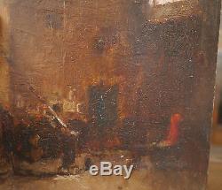 Tableau Ancien Huile Scène Intérieur d'Atelier Artiste OCTAVE TASSAERT 1860 XIXe