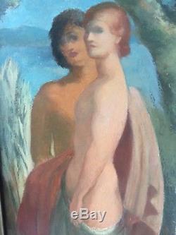 Tableau Ancien Huile Sur Panneau Art Deco Museable Circa 1937 Burckhardt Suisse