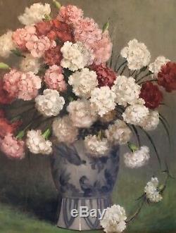 Tableau Ancien Huile Sur Panneau Fleurs Bouquet Oeillets