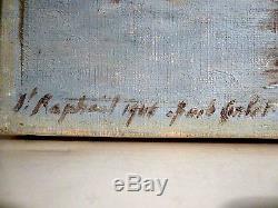 Tableau Ancien Huile Sur Toile Signature A Identifier