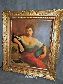 Tableau Ancien Huile Sur Toile Signe Guerin Femme A La Fontaine Cadre Bois Dore
