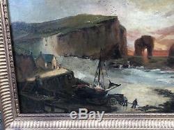 Tableau Ancien Huile Toile Bord De Mer Marine Etretat Normandie XIXe Signé