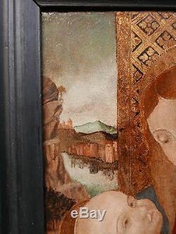 Tableau Ancien Huile Vierge à l'Enfant Renaissance Italienne 1500 Italie Fin XVe